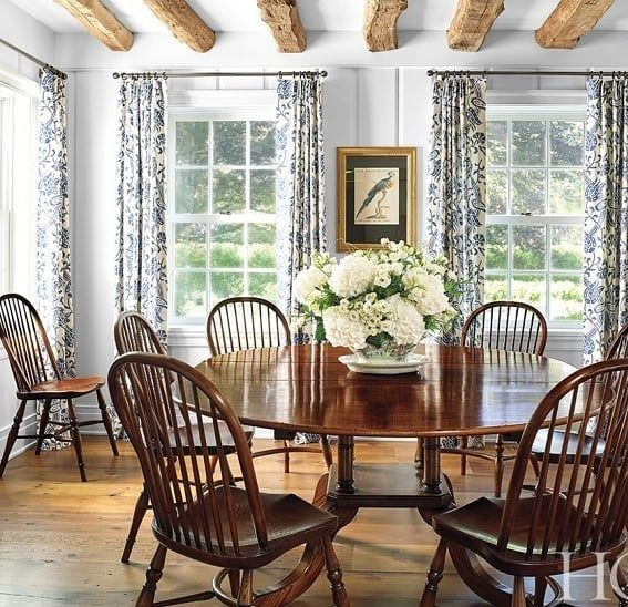 This dining room in an 18th century home in East Hampton ...
