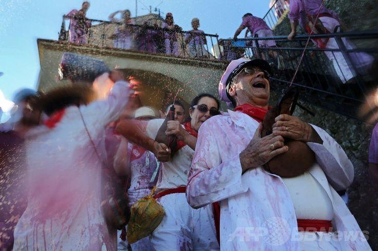 スペインを代表するワイン産地、ラ・リオハ(La Rioja)州アーロ(Haro)で行われた伝統の祭り「バターリャ・デル・ビーノ(Batalla del vino)」でワインをかけ合う人たち(2014年6月29日撮影)。(c)AFP/CESAR MANSO ▼30Jun2014AFP 互いに赤ワインかけあう、ラ・リオハの祭り スペイン http://www.afpbb.com/articles/-/3019210 #Batalla_del_vino