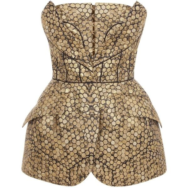 Alexander McQueen Bee Honeycomb Bombe Hip Bustier ($3,399) ❤ liked on Polyvore featuring jumpsuits, rompers, tops, dresses, alexander mcqueen, jumpsuit, playsuits, gold, romper jumpsuit and playsuit jumpsuit