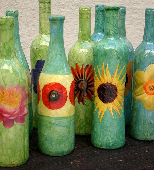 Wine bottle vases i made crafts bottles wine liquor for Liquor bottle vases