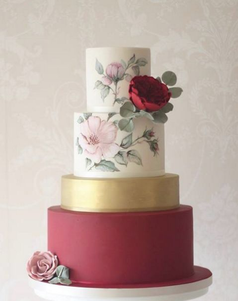 Wedding cake idea; Featured: Curtis and Co Cakes / painted wedding cakes / for more, visit equallywed.com