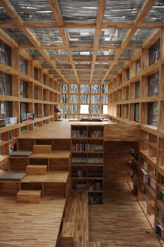 Would love a room like this for my album collection... LiYuan Library / Li Xiaodong Atelier #wood #library