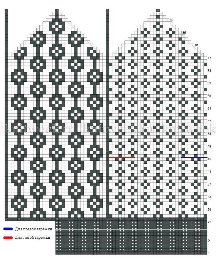 Двухцветные варежки спицами - Схема 1