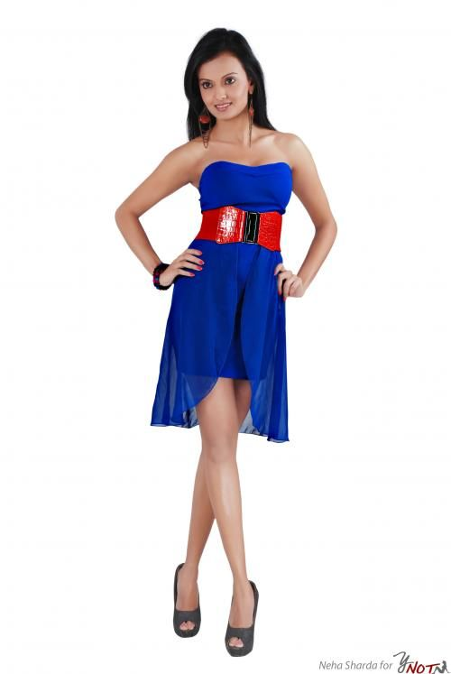 Royal Blue Tube Dress With Georgette Panel By : Neha Kamal Sharda Description  This is a vibrant royal blue tube dress with flared georgette panel . This outfit comes with a red waist-belt.