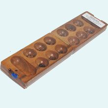Wooden Mancala Board Game featuring a fold up board and wooden pieces.
