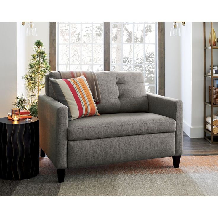 Karnes Twin Sleeper Sofa - Mink | Crate and Barrel