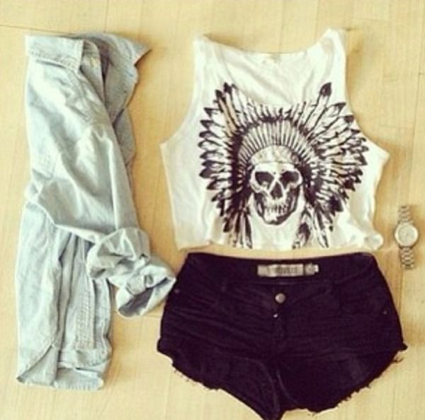 Music festival outfit - the skull crop does it for me.