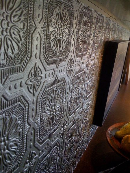 Painted wallpaper backsplash. I'm thinking of doing this in my kitchen!