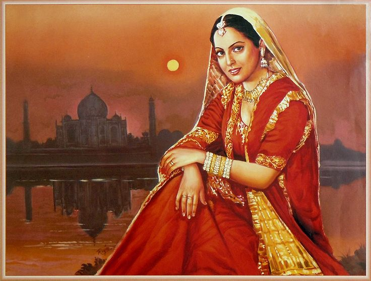 Indian Bride in Front of Taj Mahal (Reprint on Paper - Unframed)