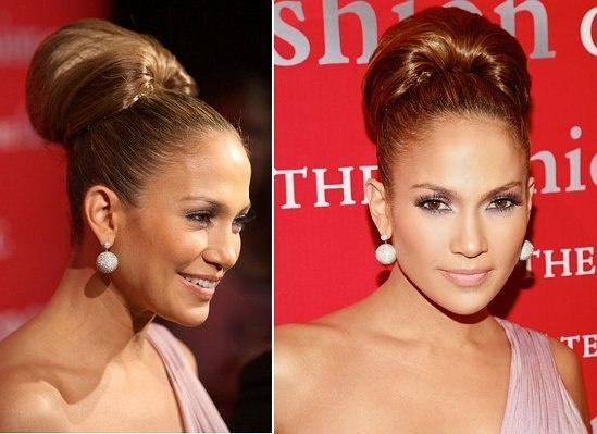 High hair bun of J Lo