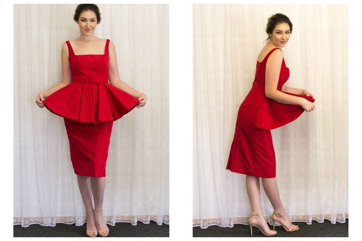 Peplum Dress of heirloom couture quality designed by Olivia Torma of Mooshi - Handmade with Love. Exclusive to the Mooshimode Boutique. Made-to-Order.