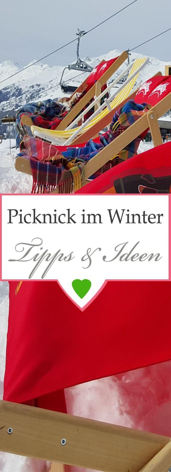 Picknickkorb und Picknickdecke für den Winter, wärmende Gerichte - einfache Rezepte