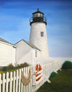 Original oil painting of Pemaquid Point Lighthouse in Maine by Wendy L. Trommer.