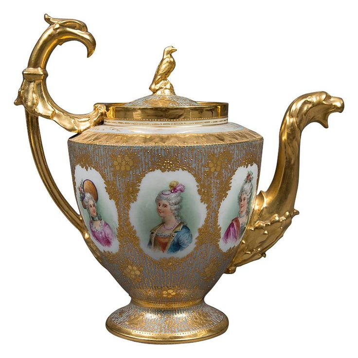 A Fine Antique Dresden Porcelain Iridescent & Heavily Gold Decorated Portrait Pitcher
