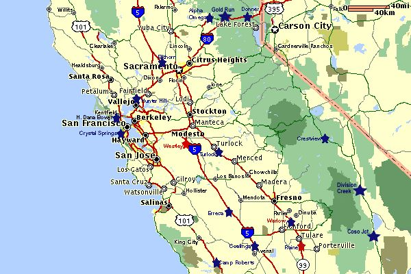 Map of Central Califoria indicating Rest Areas Places I Want To