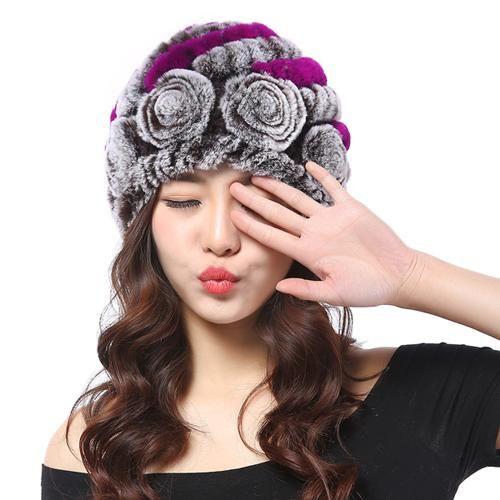9e28528143f Hot 2016 New 100% Genuine Knitted Rex Rabbit Fur Hat Winter Lady Floral Cap  Female Headgear Women Fur Beanies hats free shipping