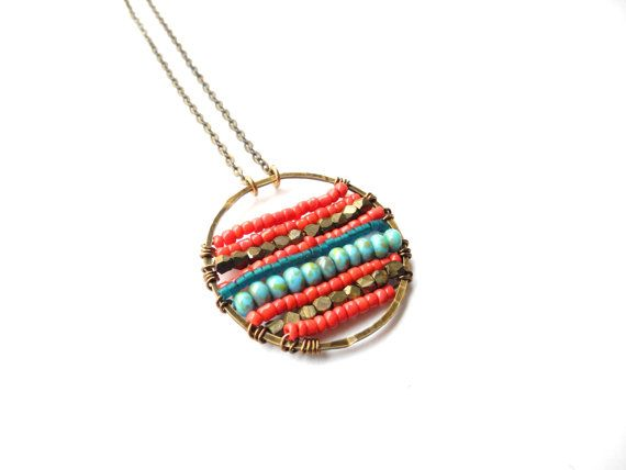 Beadwork Necklace, Beaded Medallion, Striped Jewelry, Red Jewelry, Beaded Pendant, Coral Red and Turquoise, Statement Necklace, Boho Jewelry