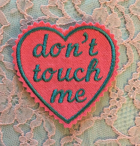 Teal Embroidered don't touch me Iron-On Heart by LakeshoreVtg