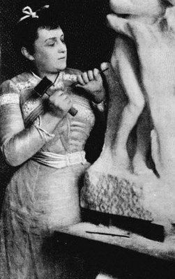 Camille Claudel at work. August Rodan took credit for several of her art pieces and had her committed to an asylum when she tried to tell people what he was doing. He ripped her off!