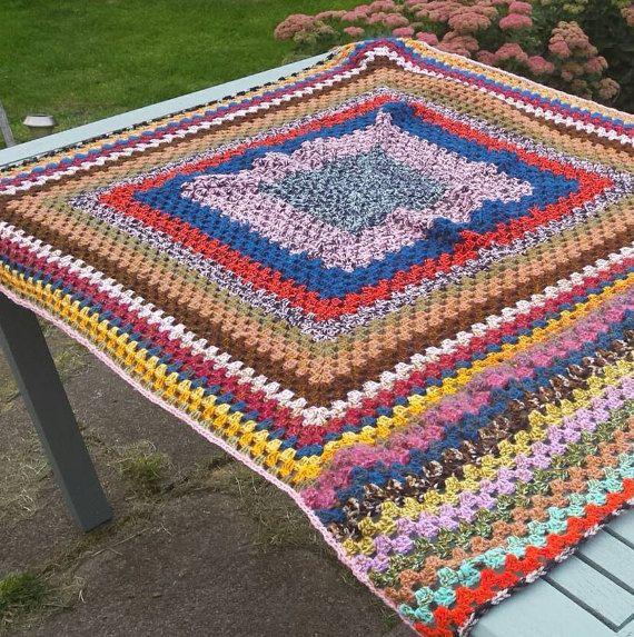 Crocheted blanket various sizes https://www.etsy.com/uk/listing/247439770/crocheted-blanket-in-colourful-granny #largeblanket #crochetblanket #grannysquareblanket #colourfulblanket #handmade #bedding #throw