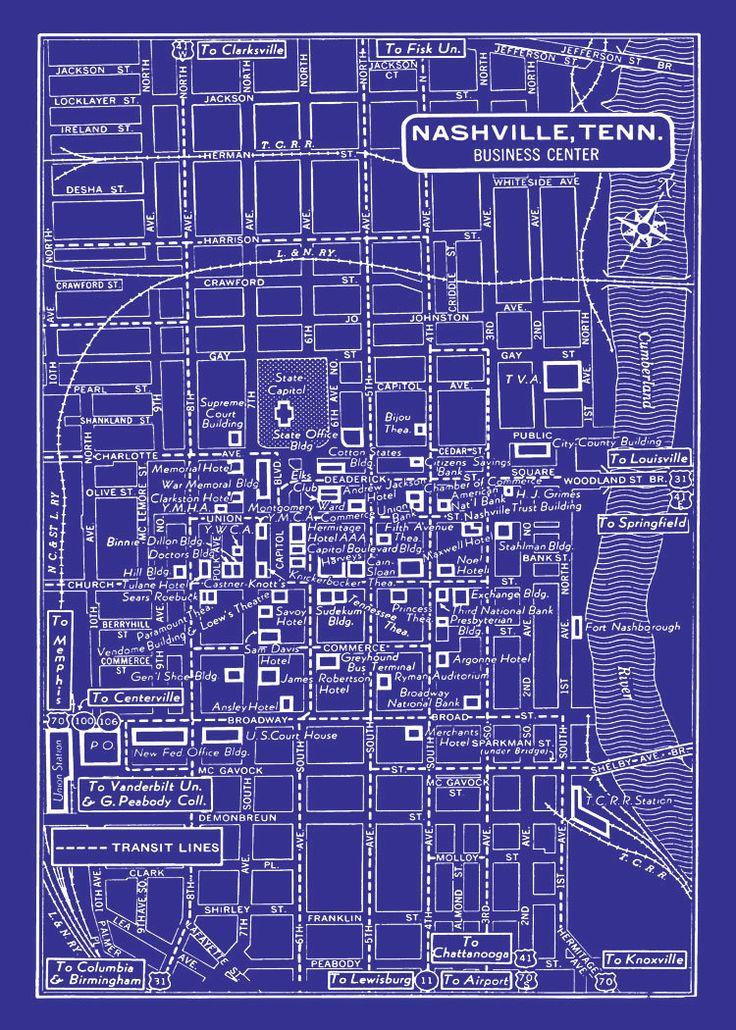 Nashville City Map 1949 Vintage Map of Nashville by seashoreprints, $12.95