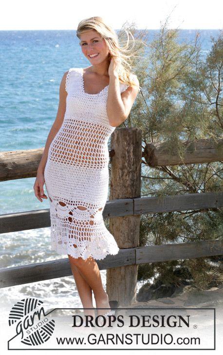 """Hæklet DROPS kjole og nederdel med Muslinge mønster i """"Alpaca"""" og """"Cotton Viscose"""". Str S-XXL ~ DROPS Design"""