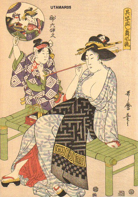 Kitagawa Utamaro  Title:Courtesan smoking