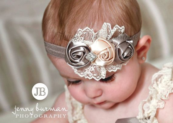 SALE Grey Cream Baby Headband,Newborn headband, baby headbands,lace headband, satin flowers headband,Girls Headband, Hair Bows $8.95