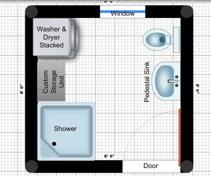 Cool Small Bathroom Floor Plans With Shower Area Near Custom Storage Unit And Washer And Dryer