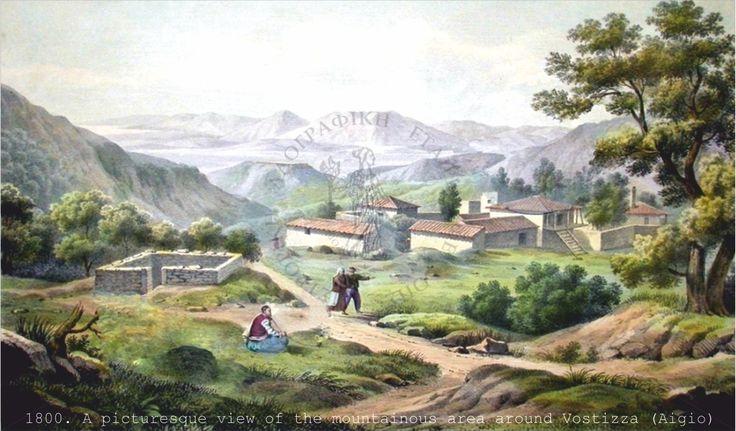 Rural landscape of the mountainous area around Vostizza.