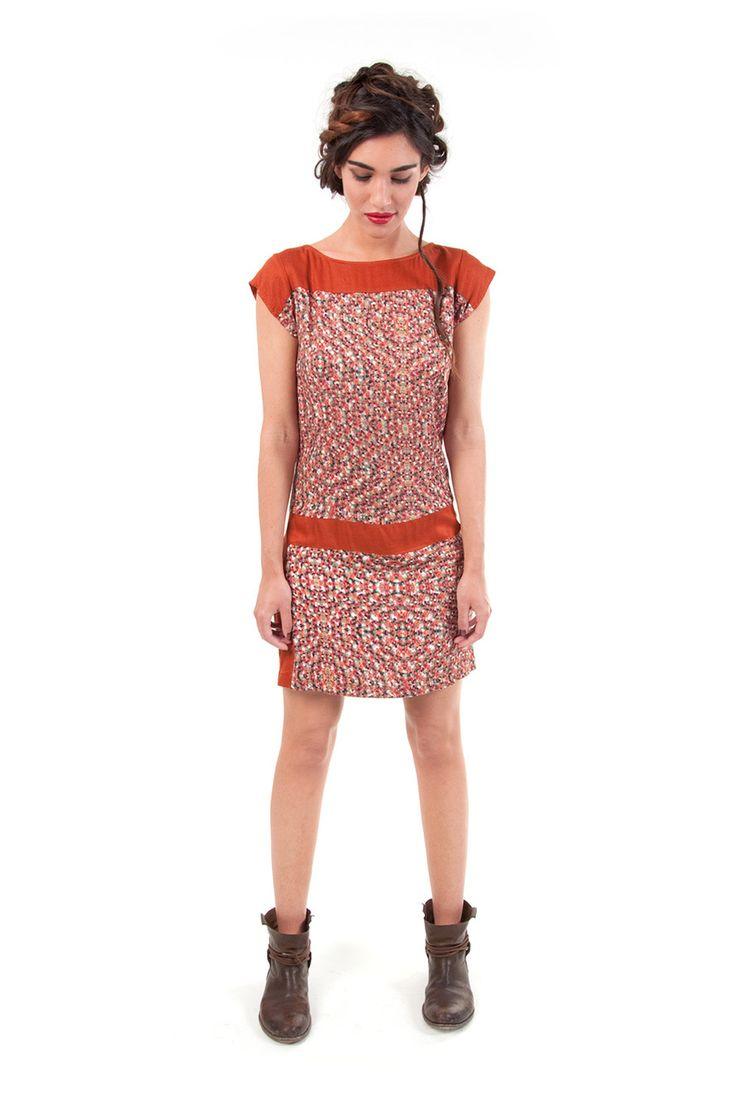 SYLVIANE-122 SKUNKFUNK women's dress fabric content: 100% viscose color: black,brown price: $109.00