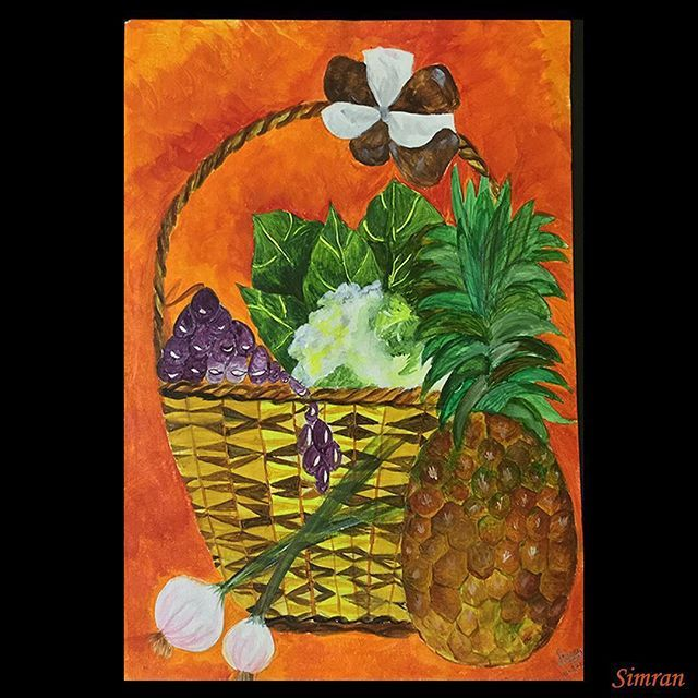 Fruit and vegetable basket #stilllife #acylic #fruit #vegetables #arts_help #art_worldy #arts_gallary #arts_gallery #art_spotlight #artcomplex