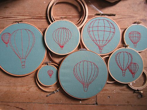 hot air balloon embroidery: Wall Art, Diy'S Idea, Hotair, Art Piece, Crafts Projects, Crosses Stitches, Bedrooms Art, Embroidery Hoop, Hot Air Balloons