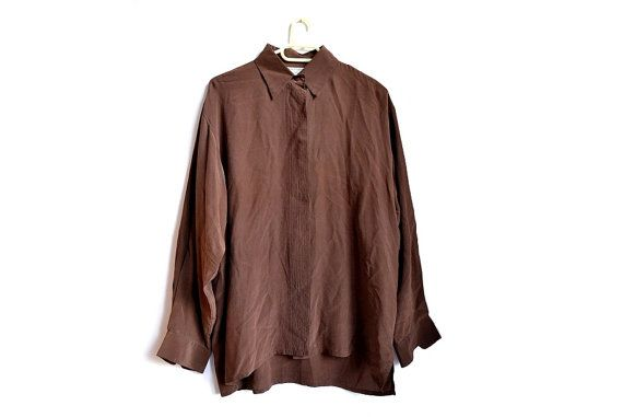 Women's brown silk blouse with hidden button placket. #vintageclothing