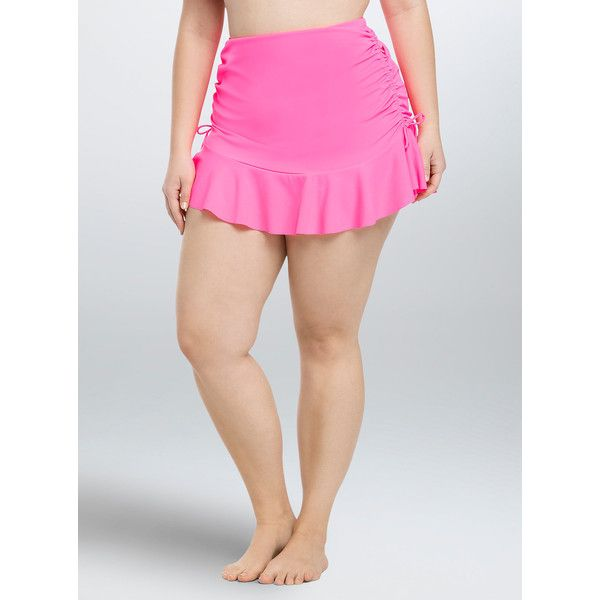 Torrid Ruched High Waist Skirt Swim Bottom ($45) ❤ liked on Polyvore featuring swimwear, bikinis, bikini bottoms, pink, plus size high waisted bikini, high waisted bikini, plus size high waisted bikini bottoms, pink high waisted bikini and ruched bottom bikini