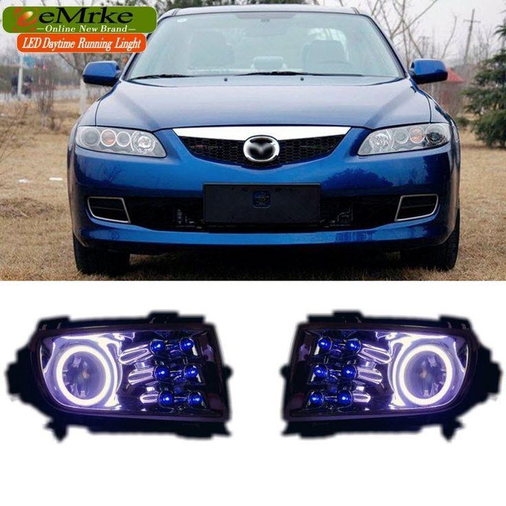145.00$  Watch now - http://ali5sd.worldwells.pw/go.php?t=1831302949 - 3in1 LED Daytime Running Lights For Mazda 6 M6 2006-2009 LED Angel Eye 6-Leds DRL Halogen Fog Light Kit 145.00$