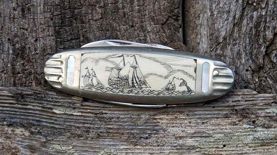 Collectible Scrimshaw Penknife | Sam McDowell Hand Carved Bone and Mother of Pearl Pocket Knife Japanese Steel Blade | Folk Art Gift Idea