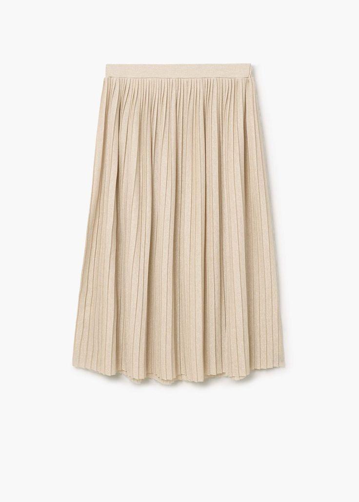 Плиссированная юбка металлик | MANGO МАНГО