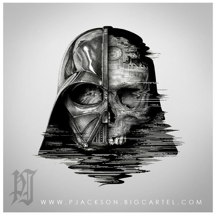 """'Death Vader' is a top quality Giclee print. Giclee prints are the finest digital print money can buy - they are printed with archival ink that fade resistant for upto 100 years.This print comes with the see through vader keyring, a mirror sticker of the same design, and 2 Han Solo mini prints (Han in carbonite and his blaster)The stickers and mini prints are only available while stocks last.This 15""""x15"""" Giclee print is a limited run of 500 - all numbered, emboss..."""