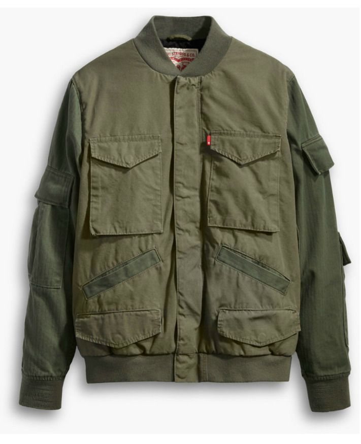 New Levis Men Army Olive Green 35449 Bomber Full Zip Jacket
