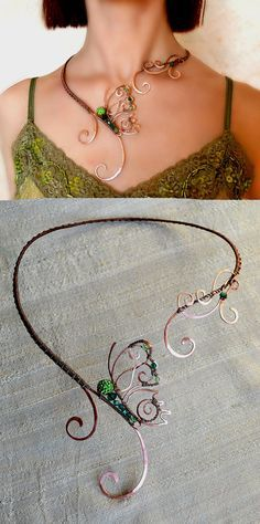 SALE 15% Necklace, butterfly, Jewelry, Jewelry made of copper, Wire Wrap, copper jewelry,  jewelry set, shamballa beads