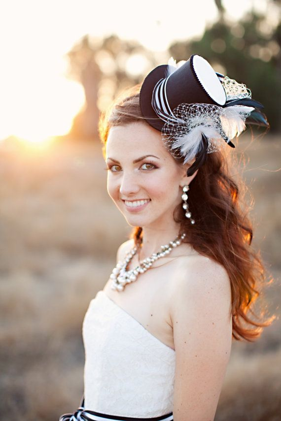 Wedding top hat bridal mini top hat black and by TwoBackFlats, $155.00