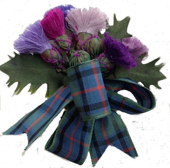 Scottish Thistles on a Pinback. I saw this in the store. Handmade, it is exquisite. Hours of work.
