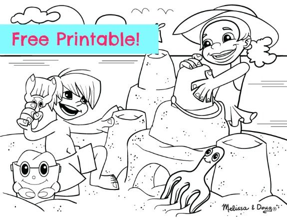 Free beach scene printable coloring