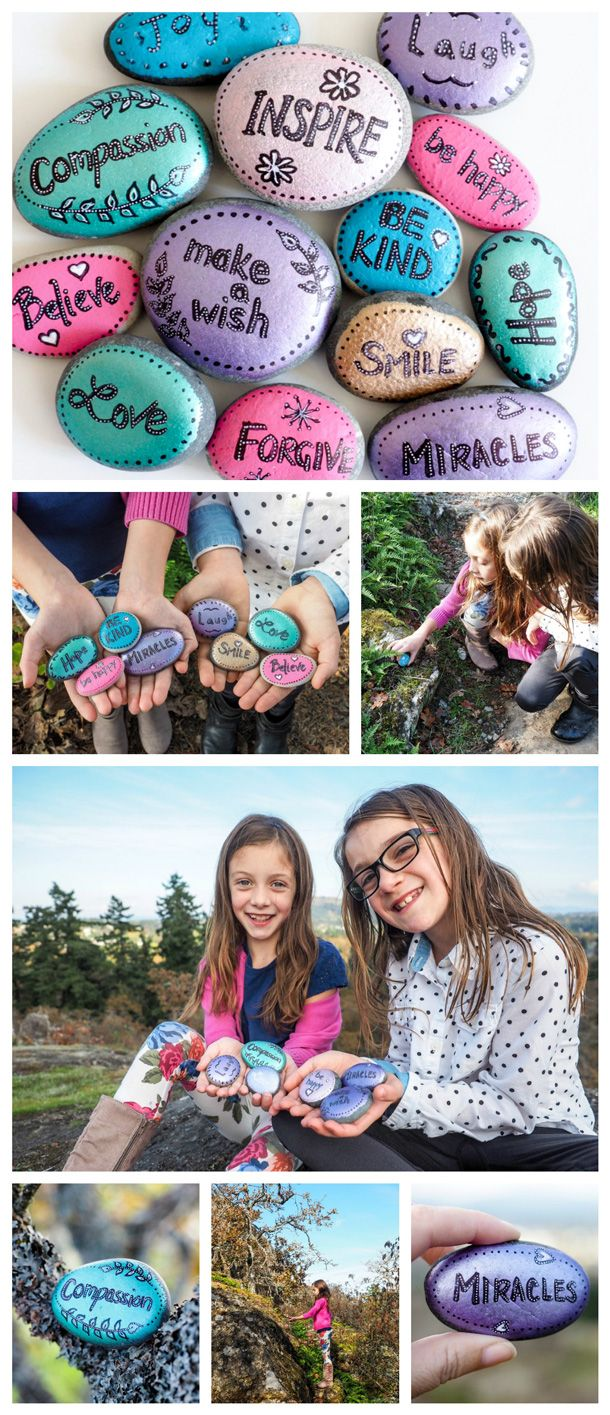 Word Rocks - Paint several rocks with inspirational words and leave them at random places for people to find. A great activity for kids. Fun for the hiders and the finders.