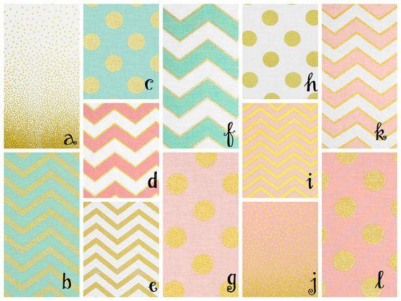Glitz Gold Metallic Crib Sheets, Mint, Coral, Pink, Chevron, Polka Dot, Pearlized Gold, Crib Sheets, Cora's Closet on Etsy, $32.50
