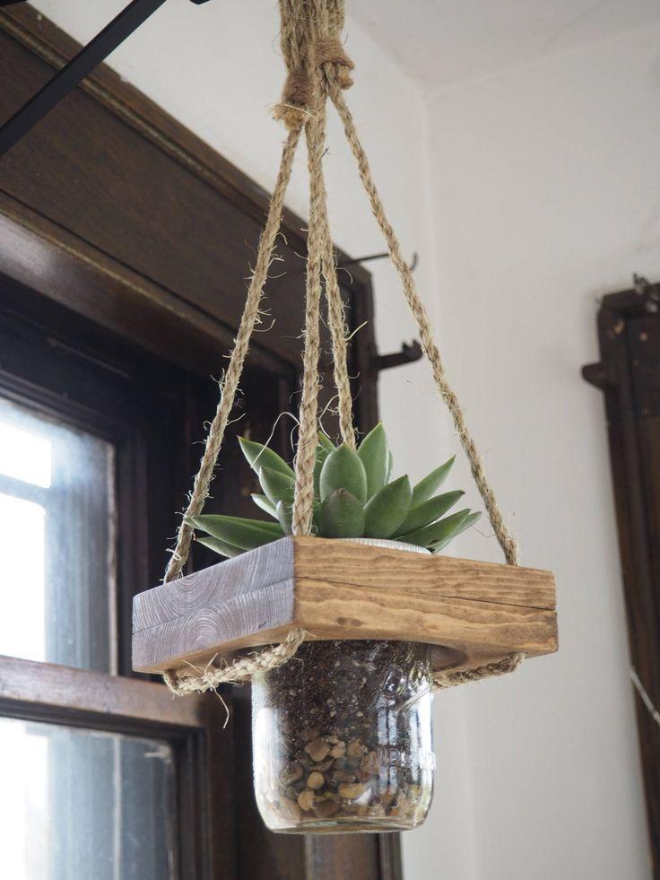 Hanging Planter, Live Succulent, Live Plant, Succulent Planter, Mason Jar Planter, Plant Holder, live planter indoor by BigFishInnovations on Etsy https://www.etsy.com/listing/526245199/hanging-planter-live-succulent-live