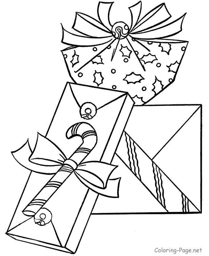 christmas coloring book page many presents etc - Christmas Present Coloring Pages