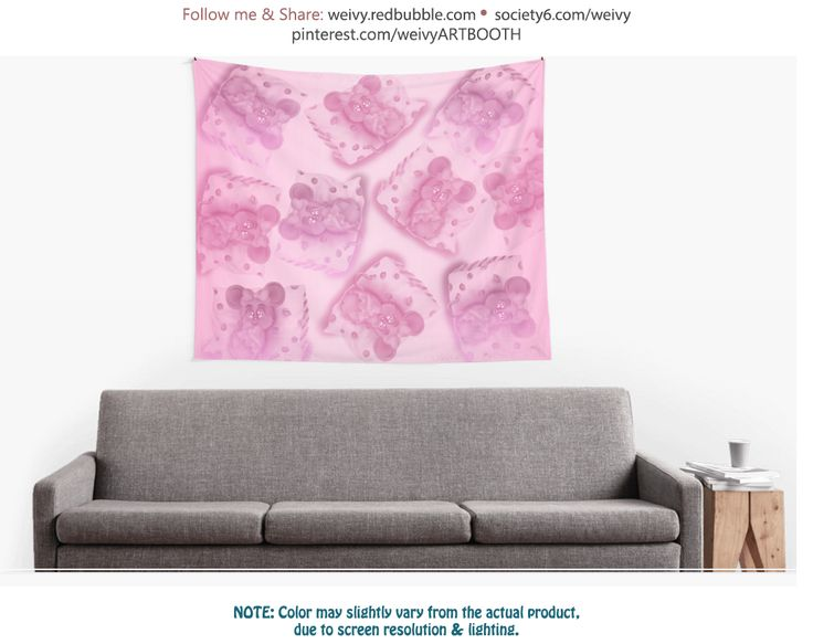 Tiny Sweet Mice on a Tiny Cheesy Pillow Wall Tapestries by We~Ivy  #mice #mouse #cheesy #weivy #cheese #pillow #pink #lila #pastel #magenta #cute #soft #sweet  #gift #cover #tapet #tapestry #curtain #roomdevider #drape #walldecor #textile #hanging #cloth