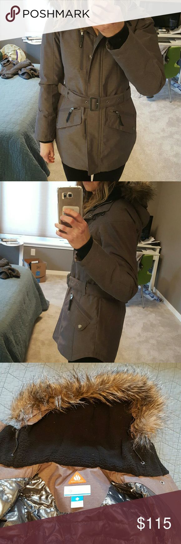 Columbia coat Brown Columbia coat with fur lined hood, cute belt, very warm, worn 2-3 times. Columbia Jackets & Coats Puffers